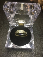 14 kt yellow with rhodium plating gold lady's custom made diamond engagement ring and matching band (20)